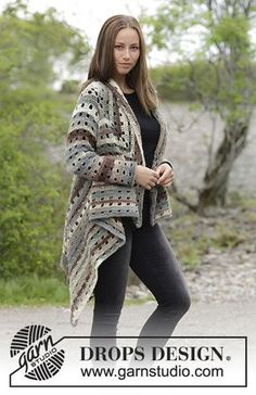 Ginevra - Crochet jacket worked in a square with lace pattern. Sizes S - XXXL. The piece is crocheted in DROPS Big Delight. Free crochet pattern DROPS 180-20