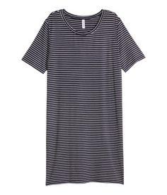 Robe T-shirt | Bleu foncé/rayé fin | Ladies | H&M CA