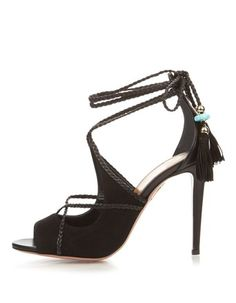 969bdc2b583 Aquazzura Black Poppy Delevingne Suede   Leather Hero Pumps Size EU 39.5 ( Approx. US