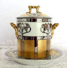 "Pickard ""Aura Argenta Linear"" Limoges Condensed Milk Container: Art Nouveau, Limoges Condensed"
