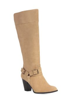 >*AUDRIE*<   @ justfab.com  Beautifully neutral and distressed, this faux-suede boot features a chunky heel and large buckle details.