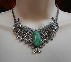 Victorian Revival Bib Necklace Peking Glass by LynnHislopJewels