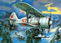 Soviet Polikarpov I-152 skis 1940