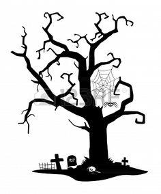 Spooky black silhouette of tree near cemetery Stock Photo - 15630831