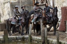 Santiago Cabrera as Aramis, Tom Burke as Athos, Howard Charles as Porthos and Luke Pasqualino as D'Artagnan