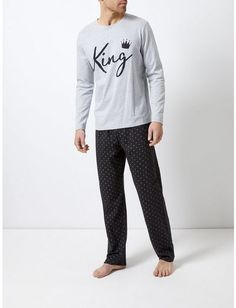 a7681bed62c69 Grey and Black Main Man Pyjama Set - Loungewear & Sleepwear - Clothing -  Burton Menswear