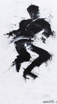 """Jumping Man"", Richard Hambleton. Acrylic on canvas. 67 × 37 in // Kollecto.com"