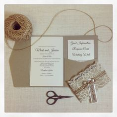This is a listing for 30 x Rustic Elegance Lace Wedding invitations. The invitation is printed on ivory metallic card, and attached to the inside of the kraft pocket. The pocket hold up to 4 tiered insert cards. The invitation is finished with a cuff, wrapped in lace and tied with twine and a tag. This is a 120 x 180 mm pocketfold invitation Price includes: 30 x Outer pockets, with invitation attached to inside of pocket 30 x lace cuffs with twine & tag 30 x response cards 30 x wishing we...