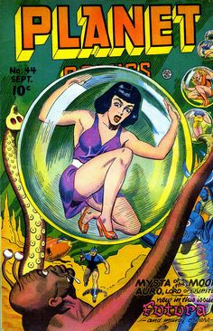 """thebristolboard: """"Classic Golden Age covers by Joe Doolin from Planet Comics, published by Fiction House, circa """" Sci Fi Comics, Fantasy Comics, Bd Comics, Horror Comics, Scary Comics, Fantasy Art, Science Fiction Magazines, Pulp Fiction Art, Science Fiction Art"""