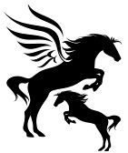 Jumping pegasus and horse fine vector silhouette stock photography