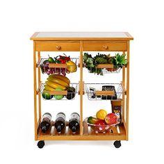 Homfa 4tiers Pinewood Kitchen Rolling Cart Ceramic Trolley With Drawer Shelves Wine Rack Home Furniturenaturedouble Column
