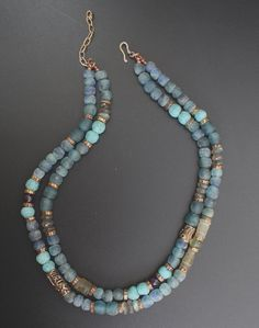 African recycled glass beads, labradorite, artisan bronze, Roman glass