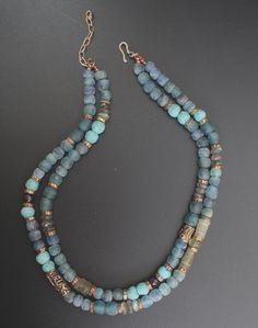 African recycled glass beads, labradorite, artisan bronze, Roman glass