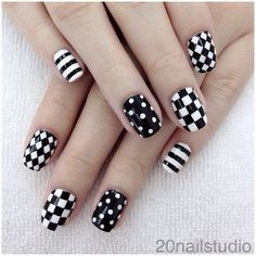 Elegant Black And White Nail Art Designs You Need To Try; Elegant Black And White Nail Art Designs; Elegant Black And White Nail; Black And White Nail; Black And White Nail Art Designs; Black And White Nail Designs, Simple Nail Designs, Nail Art Designs, Nail Black, Nails Design, Polka Dot Nails, Striped Nails, Polka Dots, Checkered Nails