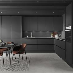 Create a modern kitchen design with our Hockley Super Matt Charcoal Handleless kitchen. Create a linear kitchen design with these black kitchen cabinets. Black Kitchen Cabinets, Handleless Kitchen, Howdens Kitchens, Kitchen Inspiration Design, Modern Grey Kitchen, Kitchen Room Design, Kitchen Furniture Design, Modern Kitchen Interiors, Charcoal Kitchen