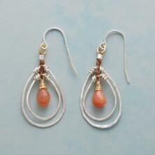 You'll love the mixed media at play in these lovely, peach moonstone briolette hoop earrings.
