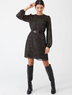 Warehouse Foil Spot Dress - Gold | littlewoodsireland.ie Mollie King, High Leg Boots, Long Toes, Gold Dress, Dress Outfits, Fitness Models, Feminine, Dresses For Work, Lingerie