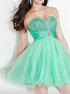 Ball Gown Sweetheart Organza Short/Mini Sleeveless Rhinestone Homecoming Dresses at pickedlooks.com