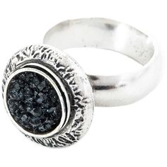 Becky Dockree Jewellery - Dome Cocktail Ring Silver (540 AUD) ❤ liked on Polyvore featuring jewelry, rings, oxidized silver ring, silver dome ring, drusy jewelry, statement rings and druzy ring