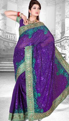 Buy Beautiful Indian Purple #GeorgetteDesignerSaree Product code: KDS-39335 Price: INR 2415 (Unstitch Blouse), Color: Purple Shop Online now: http://www.efello.com.my/Saree_Beautiful-Indian-Purple-Georgette-Designer-Saree,-Sari_37809