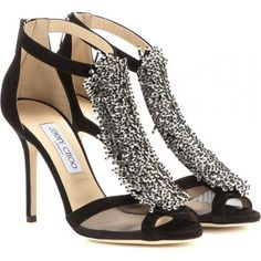 mytheresa.com - Feline embellished suede sandals - High heel - Sandals - Shoes - Luxury Fashion for Women / Designer clothing, shoes, bags
