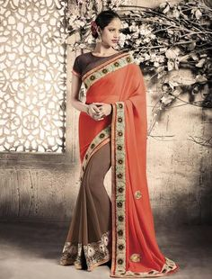 Brown With Orange Indian Sarees Online ,Indian Dresses