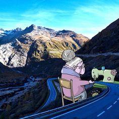 """O ilustrador brasileiro Lucas Levitan buscou imagens de pessoas desconhecidas no Instagram e utilizou as fotos para compor suas ilustrações. O projeto tem o nome """"Photo Invasion""""."""