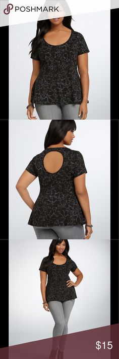 Plus Stylish Torrid 1X Cut Out Back Peplum Shirt Nic enough for work but cute enough for casual.  This Torrid shirt has a round cut out in back but it is placed so that your bra does not show, see pic of my back where I have it on.  Flattering peplum style with abstract purple flowers.  Nice lines in front to show your curves.  59% rayon, 35% polyester, 6% spandex.  Machine wash cold, tumble dry low.  Like new, only worn a few times. Torrid Tops