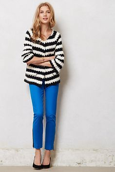 Spike-Striped Cardigan and Ankle Zip Charlie Trousers  #anthropologie