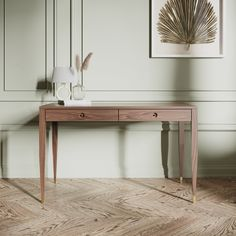 Walnut office desk with two solid walnut drawers bureau mid   Etsy Solid Wood Desk, Wooden Desk, Wood Writing Desk, Desk In Living Room, Oak Desk, Blonde Wood, Study Desk, Table Desk, Console Tables