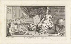 Bernard Picart | Allegorie op wetenschappen, Bernard Picart, 1729 | Minerva, godin van de wijsheid, met het Franse wapenschild en een lauwerkrans in de handen. Links op de achtergrond een collegezaal van de Academie van Wetenschappen waar een lezing gehouden wordt.