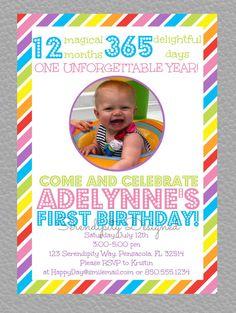 Digital Invitation - 5x7 - rainbow party, candyland party, first birthday, girl birthday, boy birthday, summer birthday on Etsy, $12.00