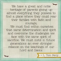 Finding Lasting Peace and Building Eternal Families.  L. Tom Perry LDSCONF OCT 2014
