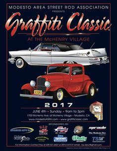 Graffiti Classic 2017 Modesto   Mark your calendars… Kick off Graffiti week at McHenry Village at the annual Graffiti Classic! FREE TO SPECTATORS – FREE PARKING RSVP for the inside scoop and event updates. To enter a vehicle, visit http://www.modestoasra.com/ and download the entry form from the Web site. Entry fee...   #209buzz  #modesto #stockton #turlock #merced #manteca #tracy #riverbank #oakdale #sonora #patterson #jackson #buzz #centralvalley #events #ev