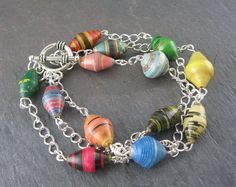 African Paper Bead Bracelet by oldearthcreations on Etsy, $16.00