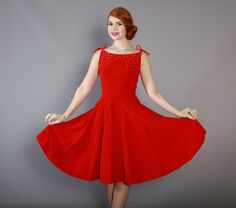 Vintage 50s RED Velvet Emma Domb Cocktail DRESS / Vintage 1950s Party Dress with Full Skirt and Rhinestone Studs