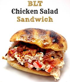 BLT Chicken Salad Sandwich 1 rotisserie chicken, shredded 1 1/2 cups mayo 2 medium tomatoes, diced 1/2 lb bacon, cooked and crumbled 6 ciabatta buns  Combine the shredded chicken, mayo, tomatoes, and the crumbled bacon. Mix well. Salt & pepper to taste. Toast ciabatta bread. Serve on the toasted bread and garnish with lettuce and shredded cheese if desired.