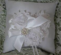 Cream Ring Bearer Pillow Shabby Chic trim Rhinestone and Pearls ...