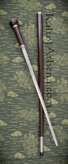 Dragon King - Taiji Sword Cane with Damascus Sword Blade and Hidden Knife Hidden Knives, Hidden Weapons, Weapons Guns, Walking Sticks And Canes, Wooden Walking Sticks, Walking Canes, Swords And Daggers, Knives And Swords, Damascus Sword