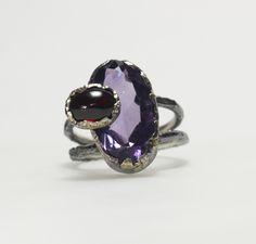 großer Ring Amethyst und Granat Gold, Gemstone Rings, Gemstones, Jewelry, Fashion, Handmade Jewelry, Objects, Ring, Silver