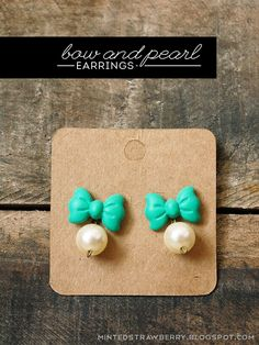 DIY: Bow and Pearl Earrings @mintedstrawberry.blogspot.com #kawaii #lolita #DIYearrings #plaidcrafts #modpodge #polymerclay