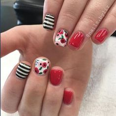 Red floral stripes