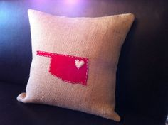 Oklahoma Heartland Hand Embroidered Burlap Accent Pillow Cover, 14x14, Choice of Wool Felt Color & Choice of Heart Location on State