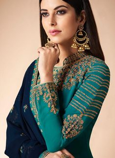 Turquoise And Blue Multi Embroidered Churidar Suit – Hatkay.com