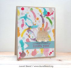 Check out the background: it's bits and pieces of the Tim Holtz splatter stencil in 12 different colors.  2.28.14