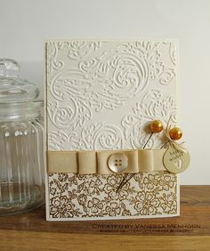 Best Wishes beautifully embossed Card.... Tim Holtz and hero arts