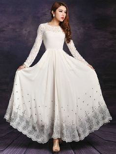 Fall Scoop Collar Lace Embroidery Print Long Dresses For Women