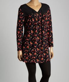 Love this Red & Black Tie-Front Sweater Tunic - Plus on #zulily! #zulilyfinds
