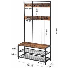 VASAGLE Large industrial style coat rack with shoe bench hallway unit cloakroom 12 hooks shoe rack rigid iron frame load capacity by SONGMICS Welded Furniture, Steel Furniture, Diy Furniture, Furniture Design, Hallway Unit, Hallway Shelf, Hat And Coat Stand, Coat Stands, Vintage Industrial Furniture