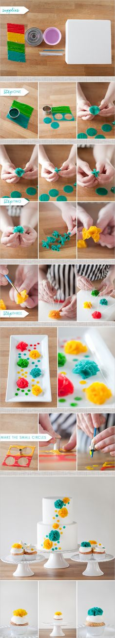 DIY Cake Flower! This is really cute I deal to decorate a simple cake!